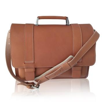 Old school skoletaske i kernelæder med rem